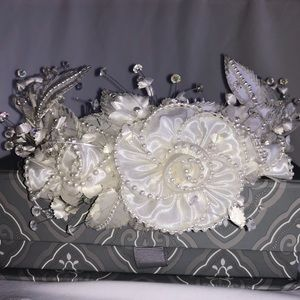 Accessories - NWOT, Wedding satin and bead hair piece w/bracelet
